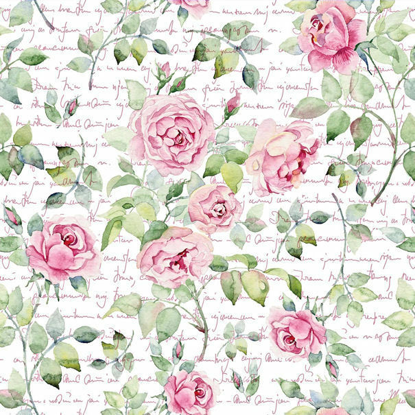 Dollhouse Miniature Shabby Chic Wallpaper Pink Roses