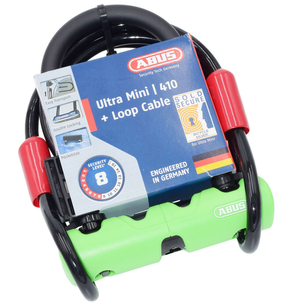 abus ultra 410 mini bicycle u lock with steel cable sold secure silver security ebay. Black Bedroom Furniture Sets. Home Design Ideas