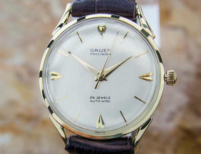 gruen solid gold swiss made mens automatic vintage