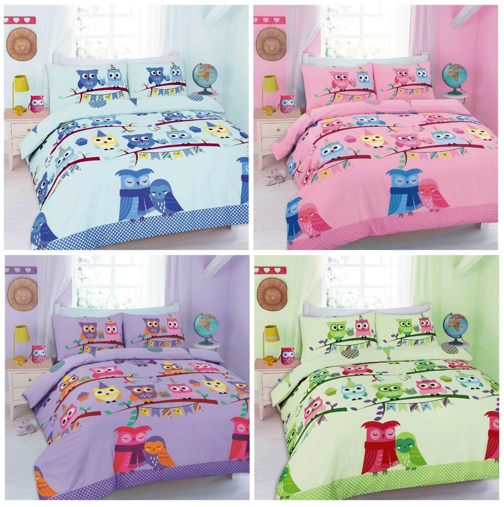 Owl Duvet Cover Sets Kids Children Toddler Quilt Cover