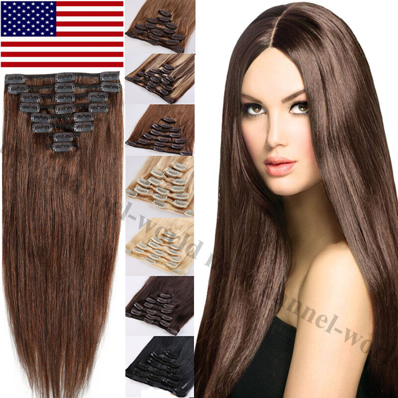7pcs Real Clip In Remy Human Hair Extensions 70g 120g Straight Full