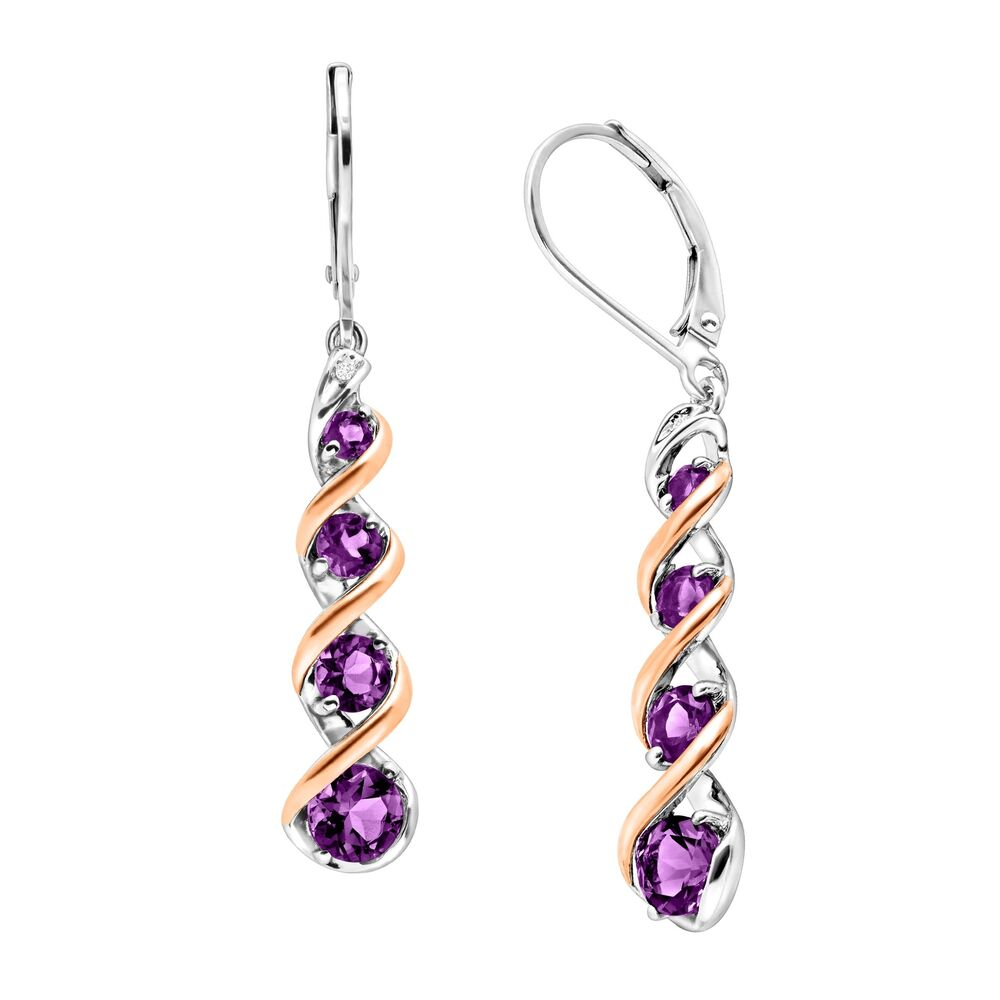 natural amethyst drop earrings with diamonds in sterling. Black Bedroom Furniture Sets. Home Design Ideas