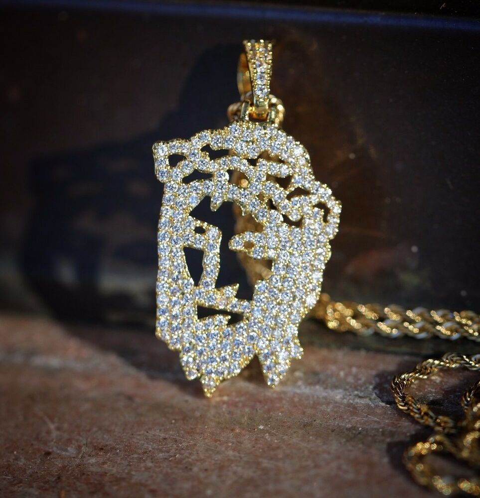 Men S 14k Gold Jesus Face Piece Pendant And Rope Chain