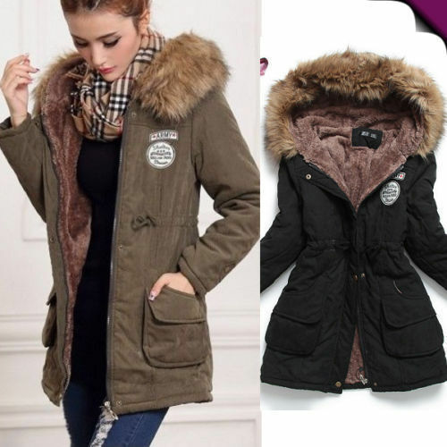 damen wintermantel jacke kapuze kunstfell winterjacke parka mantel gr s 3xl ebay. Black Bedroom Furniture Sets. Home Design Ideas