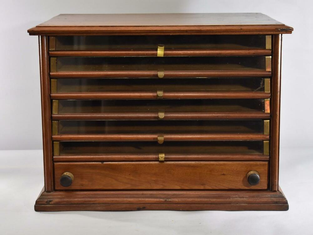Antique Tabletop 6 Drawer Walnut Spool Cabinet Ebay
