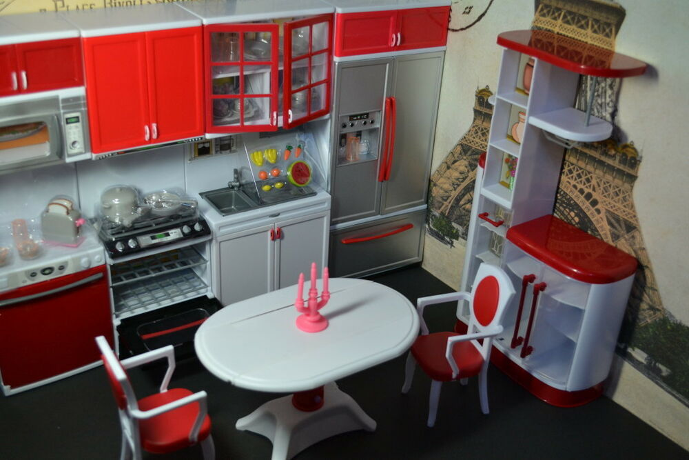 Barbie size dollhouse furniture modern comfort dining room for Kitchen set cicilan 0