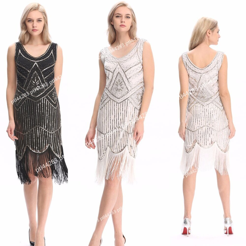 1920s Vintage Flapper Dress Great Gatsby Charleston Party