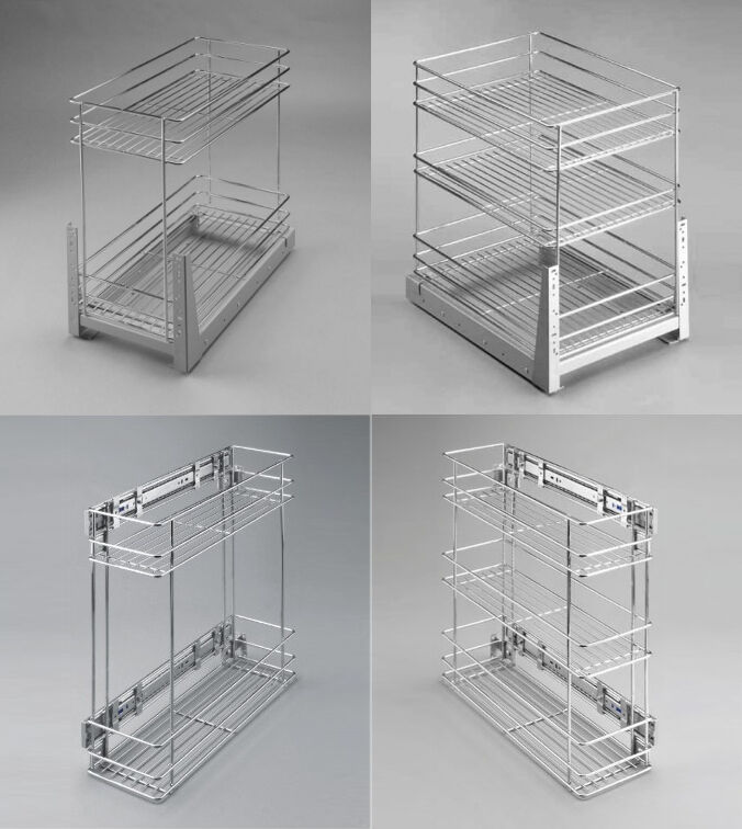 Pull Out Wire Cargo Basket Side Front Mounting Kitchen