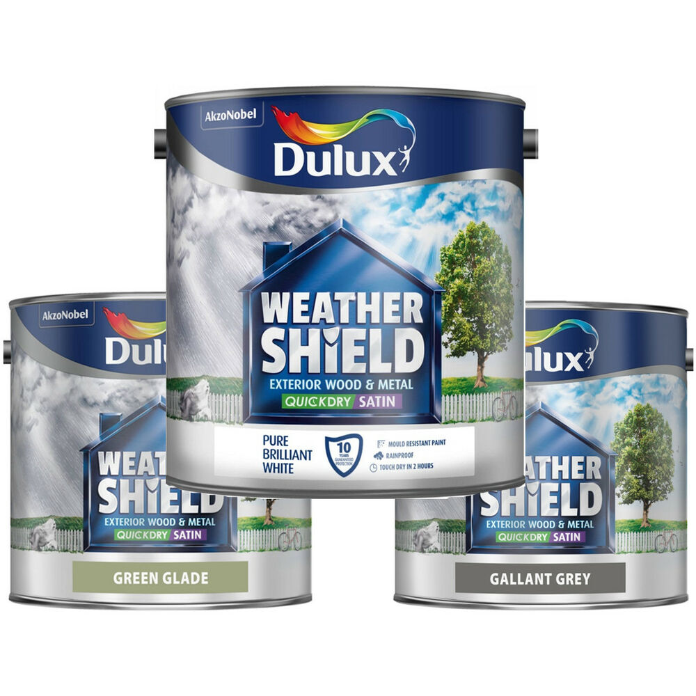 Dulux Weathershield Quick Dry Satin 2 5l For Exterior Wood And Metal All Colours Ebay