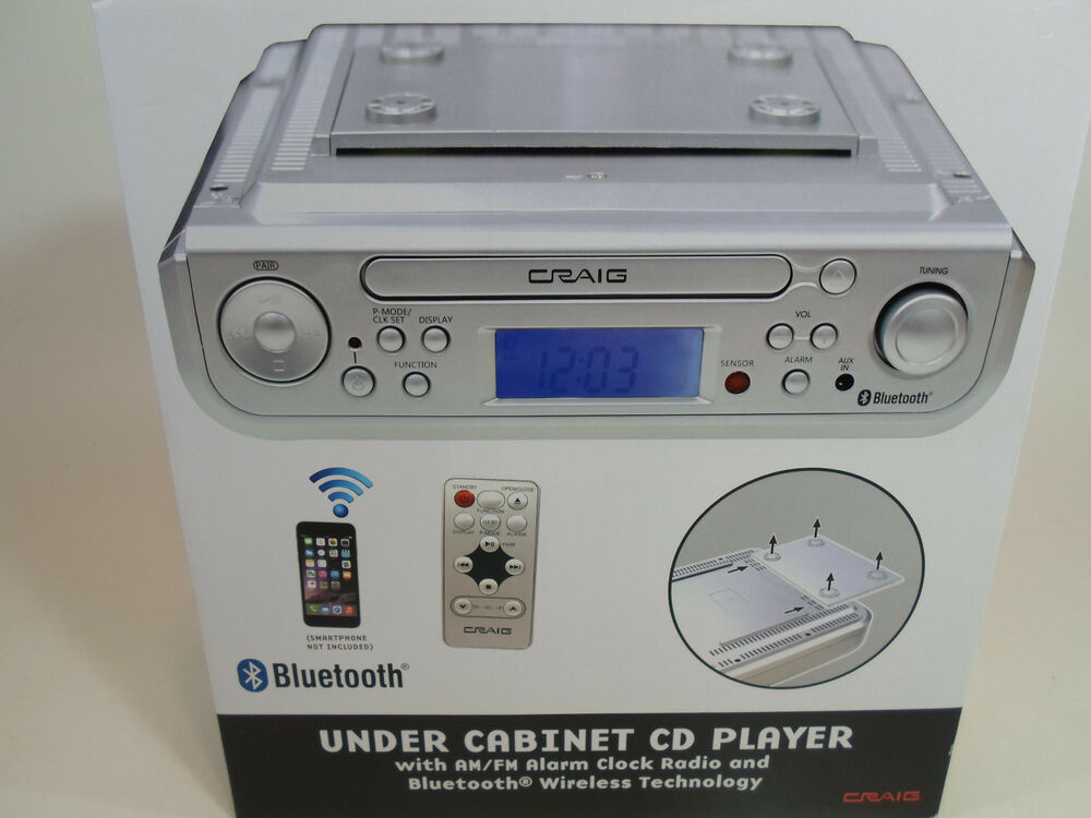 craig under cabinet cd player am fm radio alarm clock bluetooth kitchen new ebay. Black Bedroom Furniture Sets. Home Design Ideas