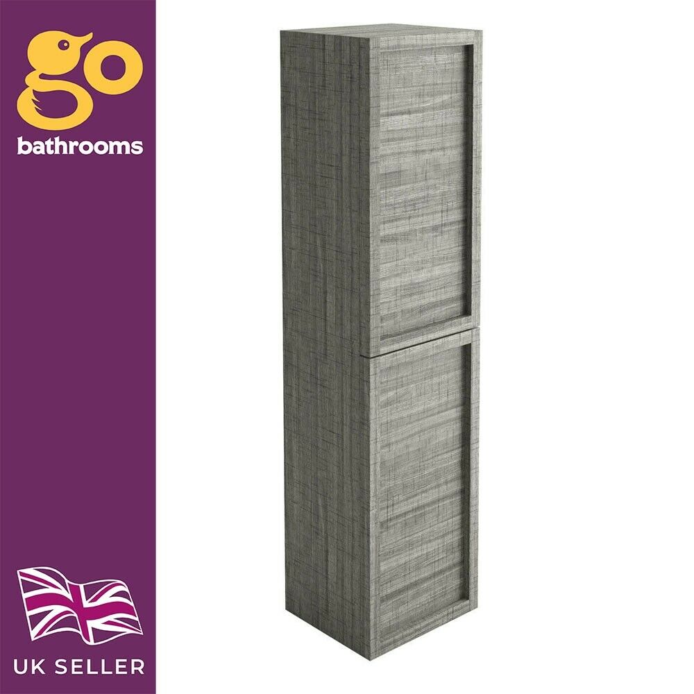 Tila Grey Oak Bathroom Tall Storage Unit Cupboard Wall