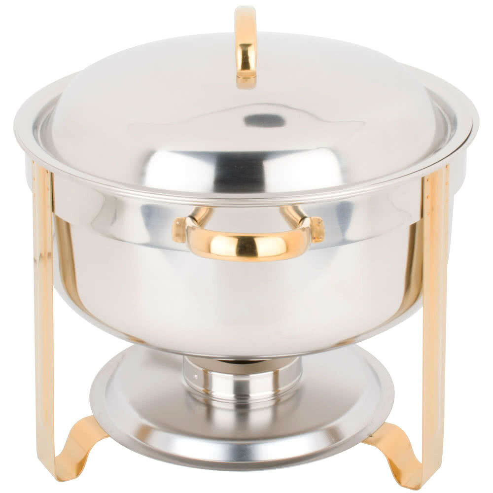 deluxe 8 qt gold accent stainless steel round soup chafer chafing dish set full ebay. Black Bedroom Furniture Sets. Home Design Ideas