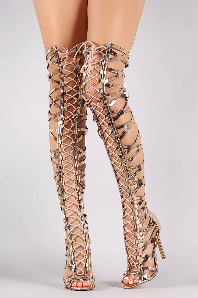 Over Knee Thigh High Gladiator Heels Strappy Lace Up Open Toe ...