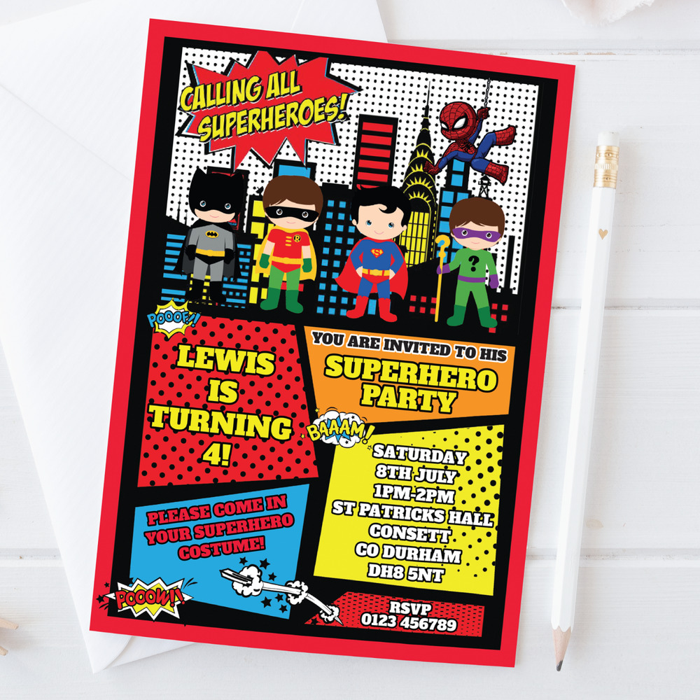Details About 10 Personalised Superhero Fancy Dress Birthday Party Invitations Invites Envs