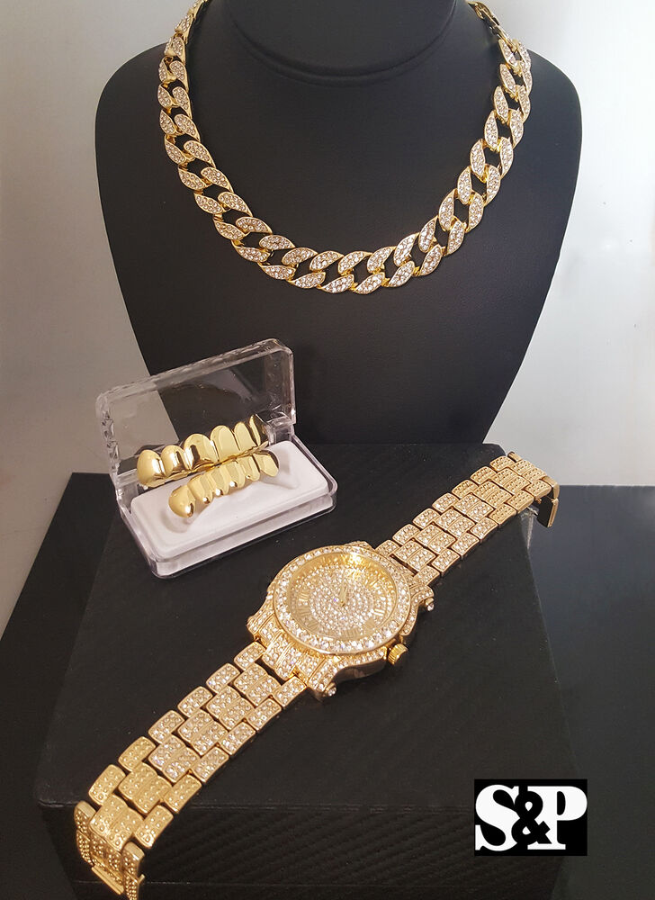 Men Hip Hop Iced Out Quavo Watch Amp Cuban Chocker Chain Amp Grillz Combo Gift Set Ebay