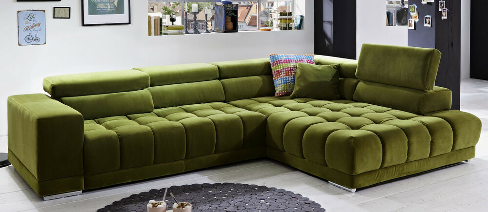 megapol satellite ecksofa polstergarnitur polsterm bel mit funktion gr n ebay. Black Bedroom Furniture Sets. Home Design Ideas