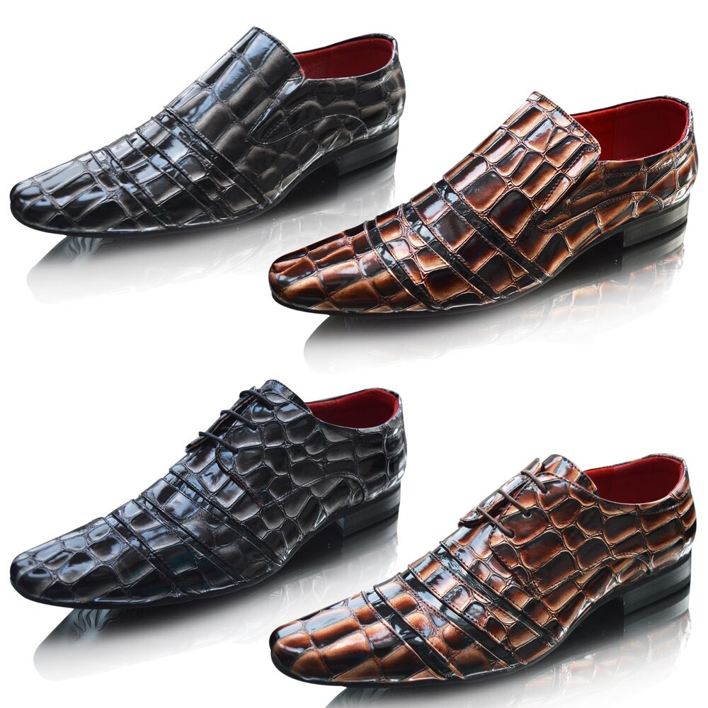 mens slip on leather pointed toe patent shiny wedding