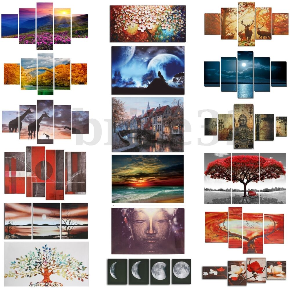 Huge modern abstract canvas print painting picture wall for Canvas wall mural