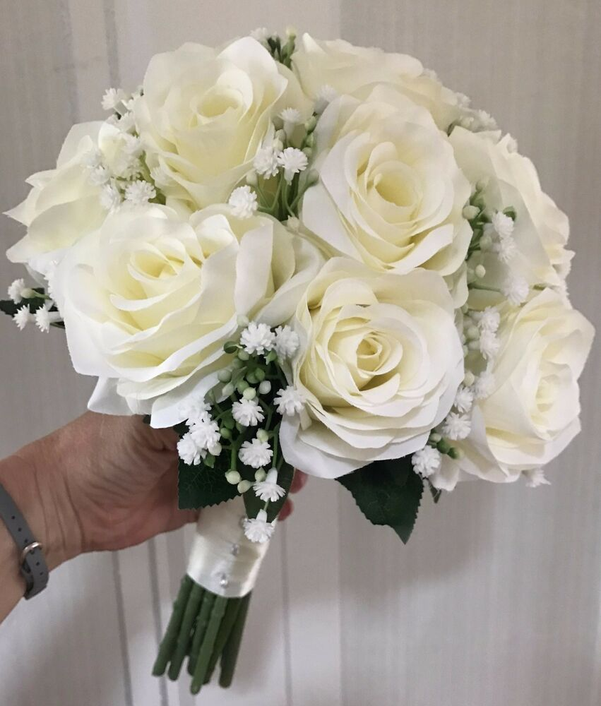 Wedding White Roses: Brides Hand Tied Wedding Bouquet Ivory Roses With Gyp.