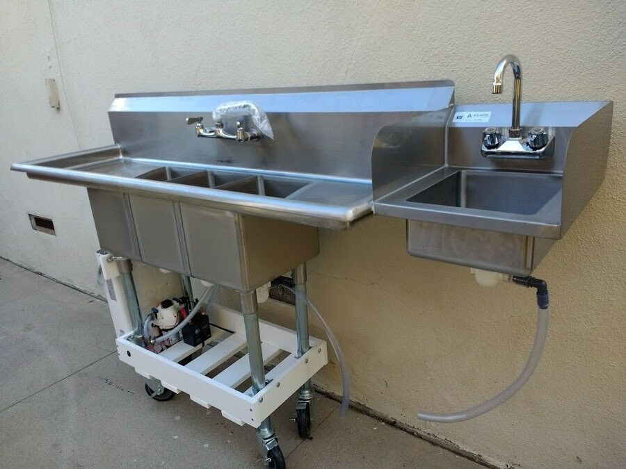 Extra Large Portable 3 Compartment Sink Concession Sink