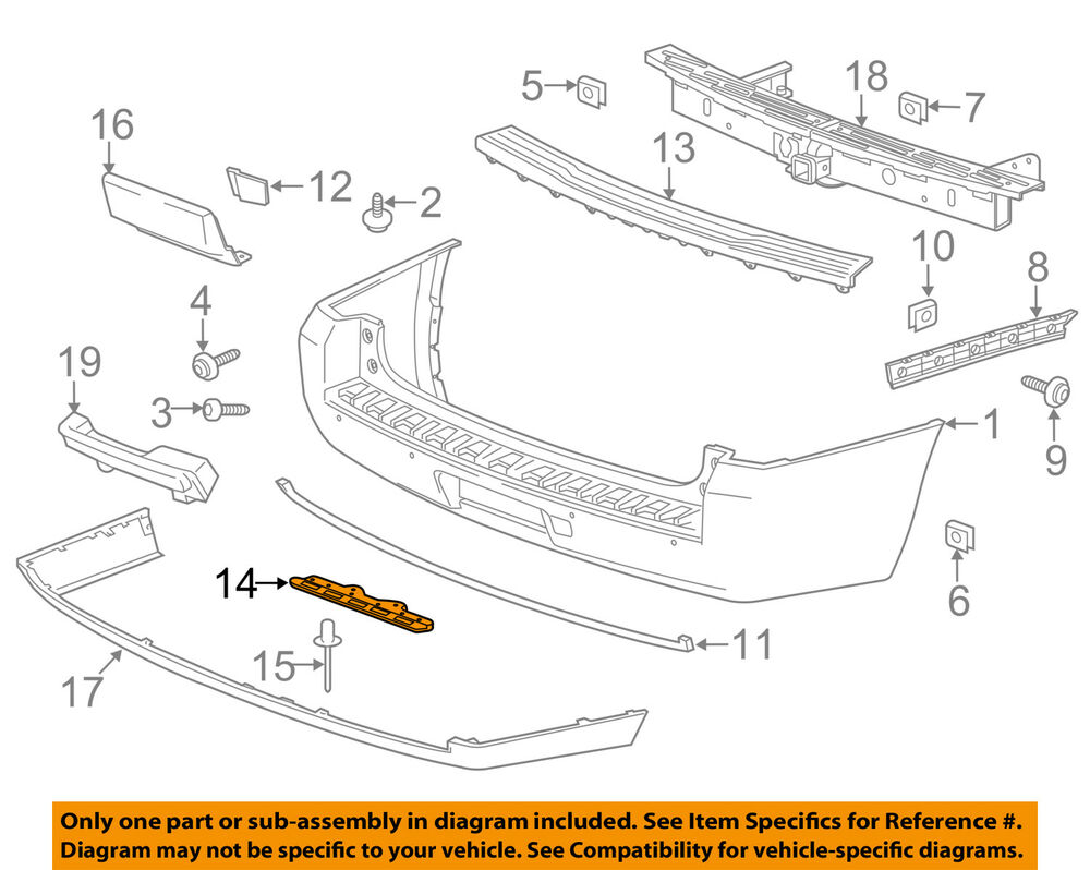 Cadillac GM OEM 15-18 Escalade-Bumper Cover Mounting Kit ...