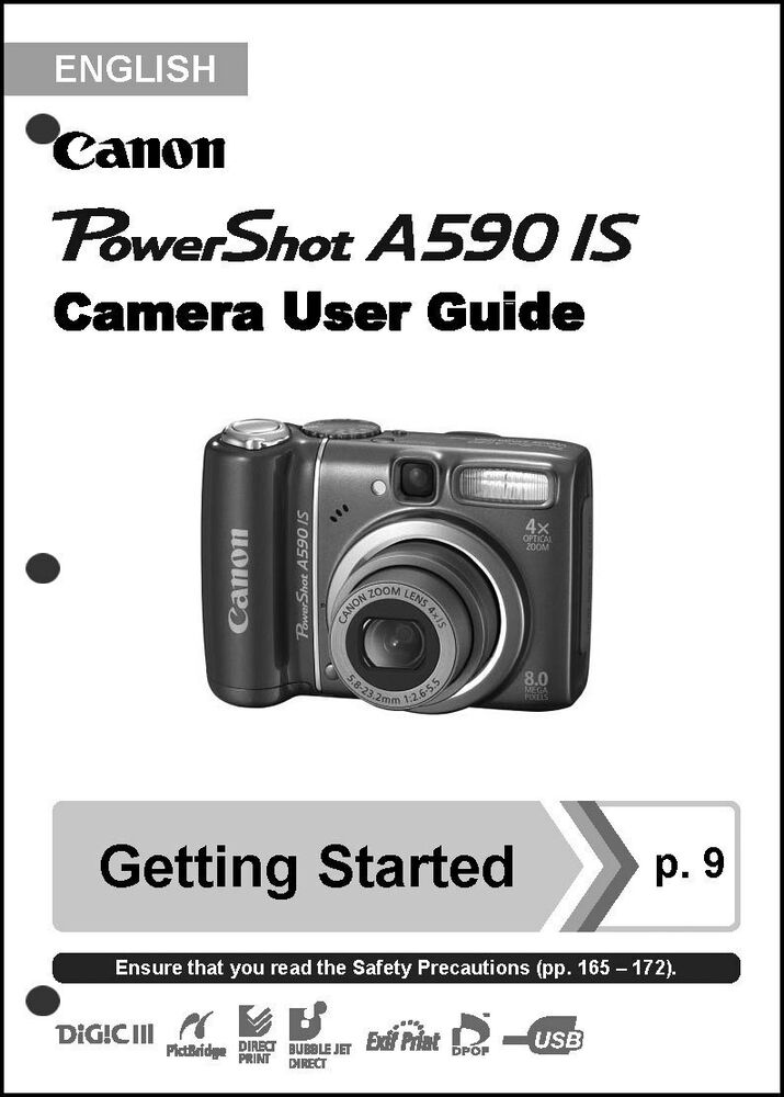 Canon Powershot A590 IS Digital Camera User Guide Instruction Manual