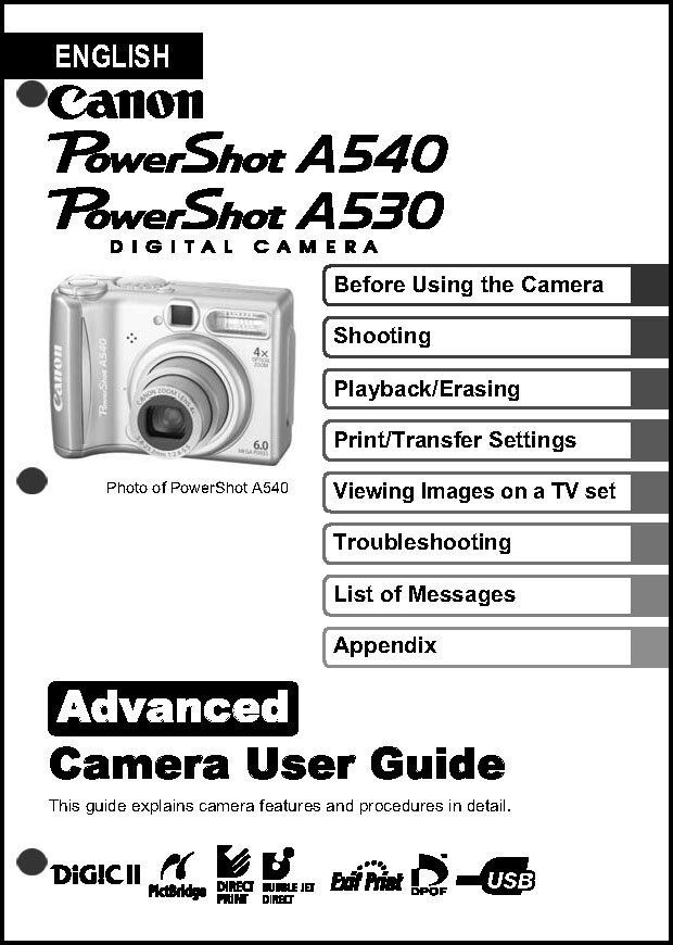 canon powershot a530 a540 digital camera user guide instruction rh ebay com Batteries for Canon PowerShot A530 Canon A530 Recall