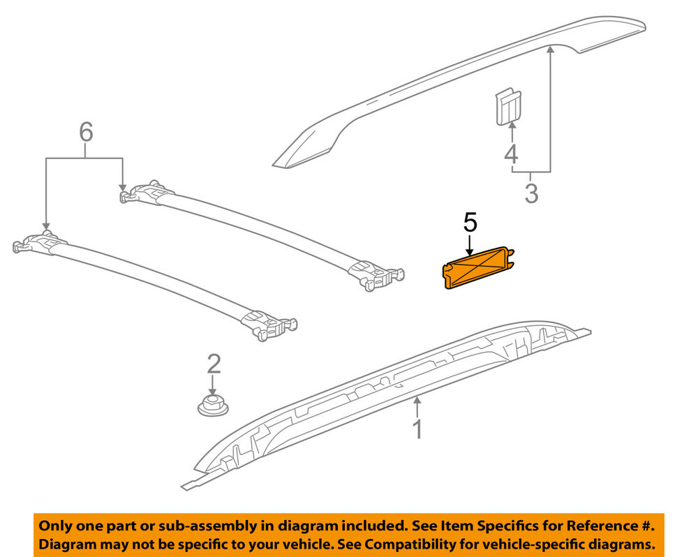 GM OEM Roof Rack Rail Luggage Carrier-Rear Cover Right ...