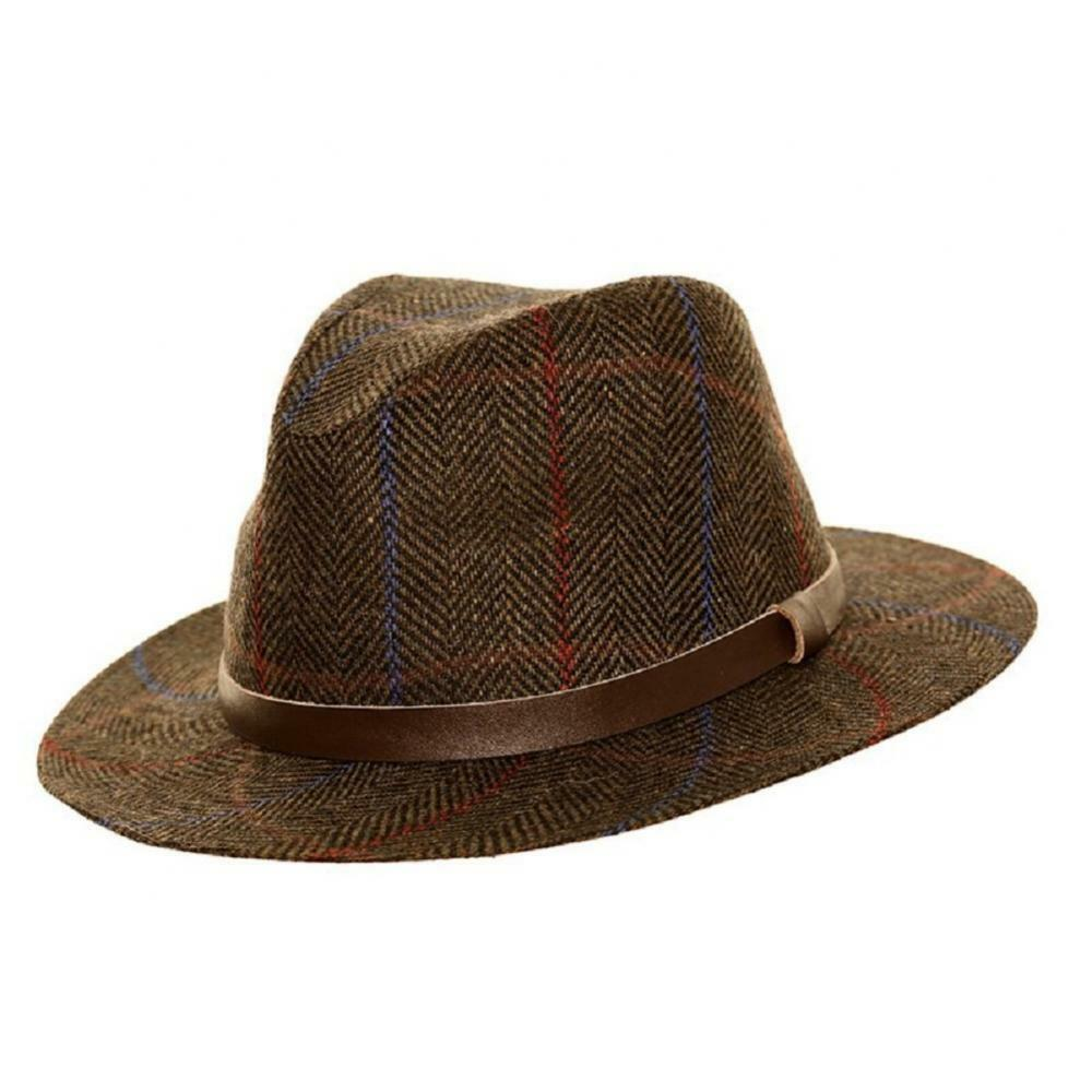 Details about Mens Ladies Tweed Fedora With Faux Leather Band 2 Colours 4  Sizes 3a027c9aa761