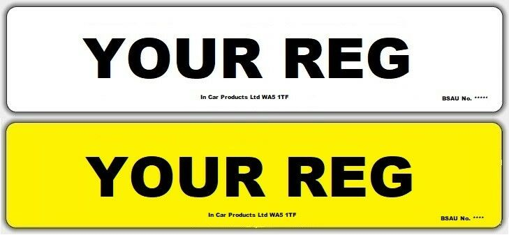 Standard Front or Rear MOT UK Road Legal Car Van Reg Registration ...