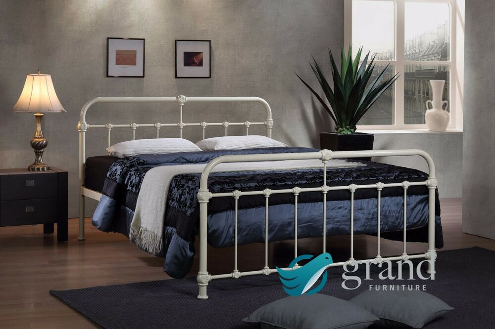 mandy double metal bed frame cream hospital style small. Black Bedroom Furniture Sets. Home Design Ideas