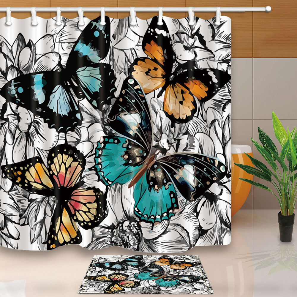 Details About Color Butterfly Bathroom Shower Curtain Waterproof Fabric W 12 Hooks 7171in