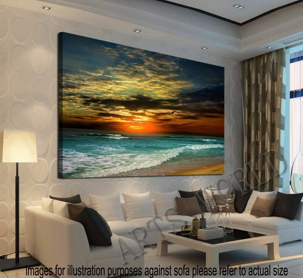 Framed home decor canvas print modern wall art seascape for Wall artwork paintings