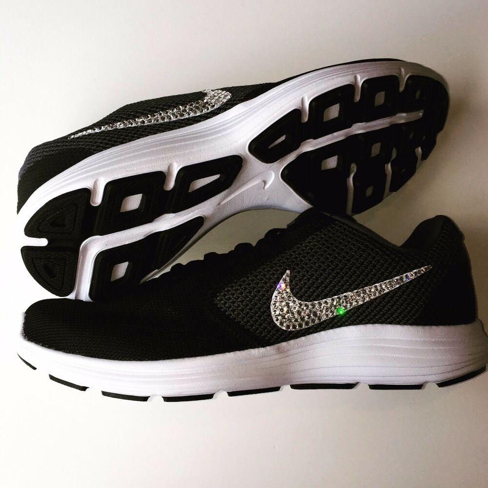43bf4d491588 Details about NWT Bling Women s Nike Revolution 3 Shoes w  Swarovski Crystal  Swooshes - Black