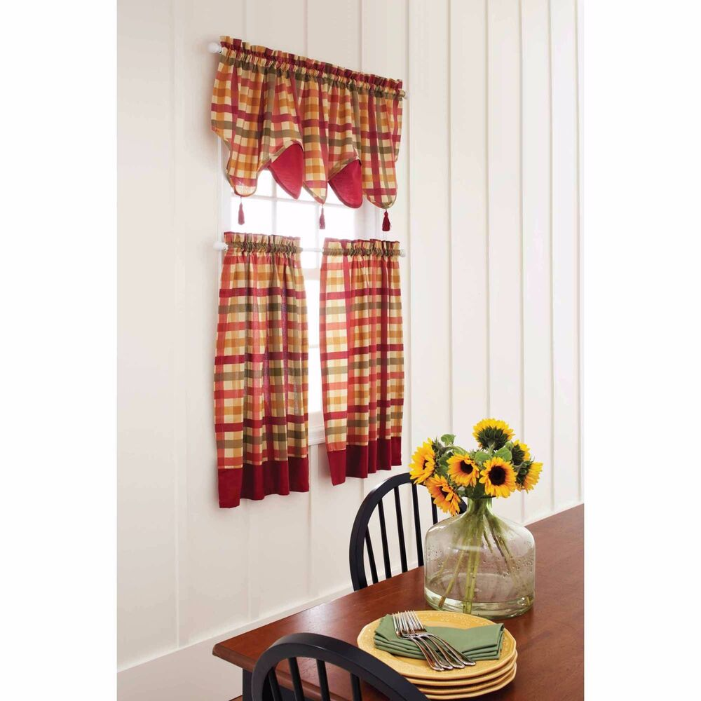 Red green yellow tan country plaid kitchen curtains for Valance curtains for kitchen
