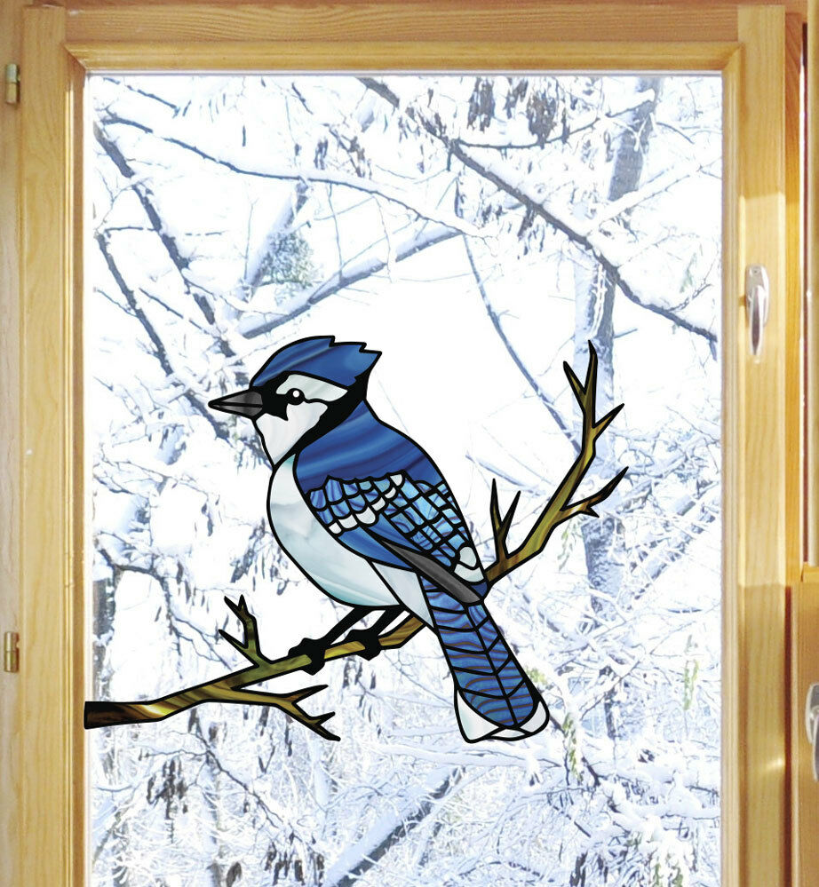 clr wnd blue jay bird stained glass style see through vinyl window decal yydc ebay. Black Bedroom Furniture Sets. Home Design Ideas