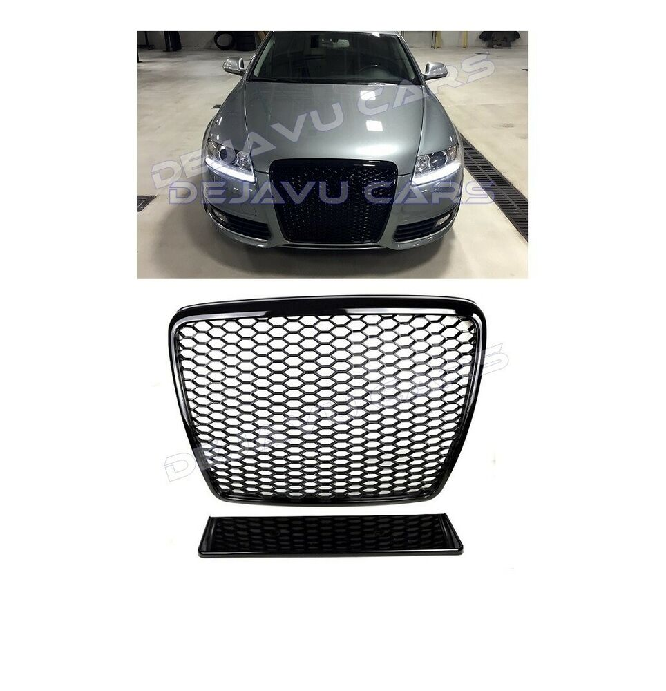 rs6 front grill mesh honeycomb grille audi a6 4f c6 s6 s line full gloss black ebay. Black Bedroom Furniture Sets. Home Design Ideas