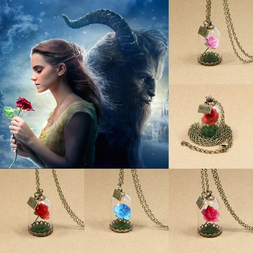Disney Beauty And The Beast Necklace Pendant Charm Jewelry