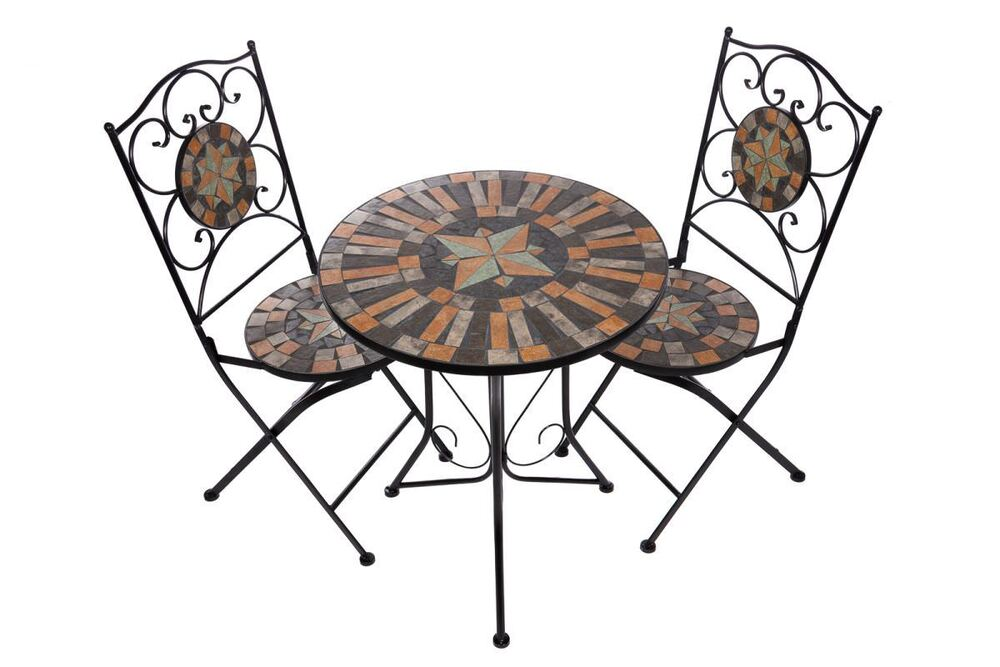 bistro mosaik tisch set stabiles gartenm bel set tisch 2 st hle na1514 b41 42 ebay. Black Bedroom Furniture Sets. Home Design Ideas