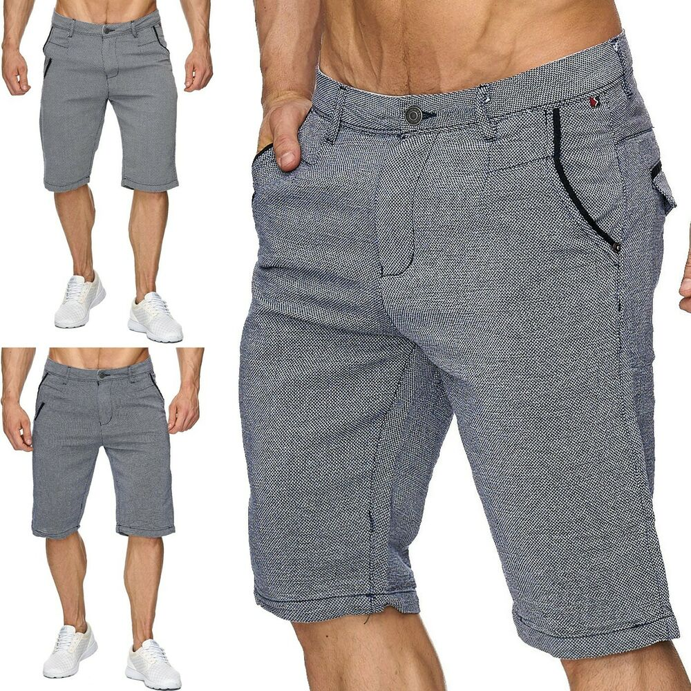 herren kurze hose shorts strukturstoff bermudas muster elegant marine chino neu ebay. Black Bedroom Furniture Sets. Home Design Ideas