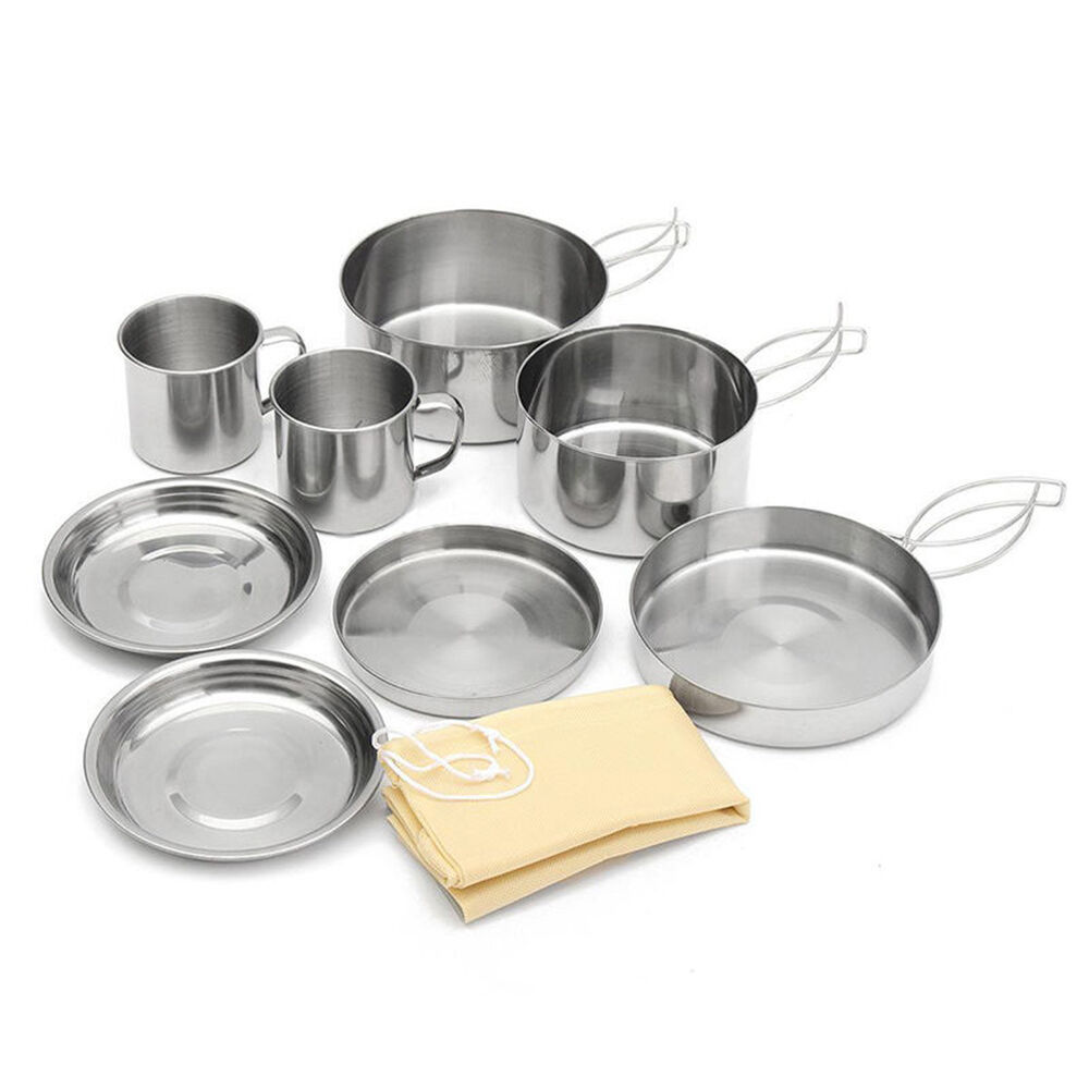 8 pcs stainless steel camping cookware cooking picnic bowl pot pan set outdoor ebay. Black Bedroom Furniture Sets. Home Design Ideas