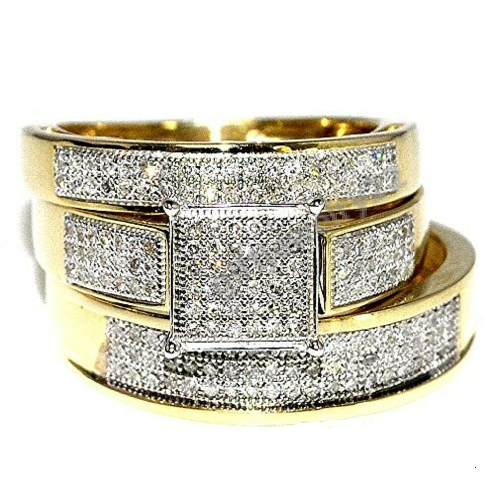 Diamond Wedding Ring Trio Sets