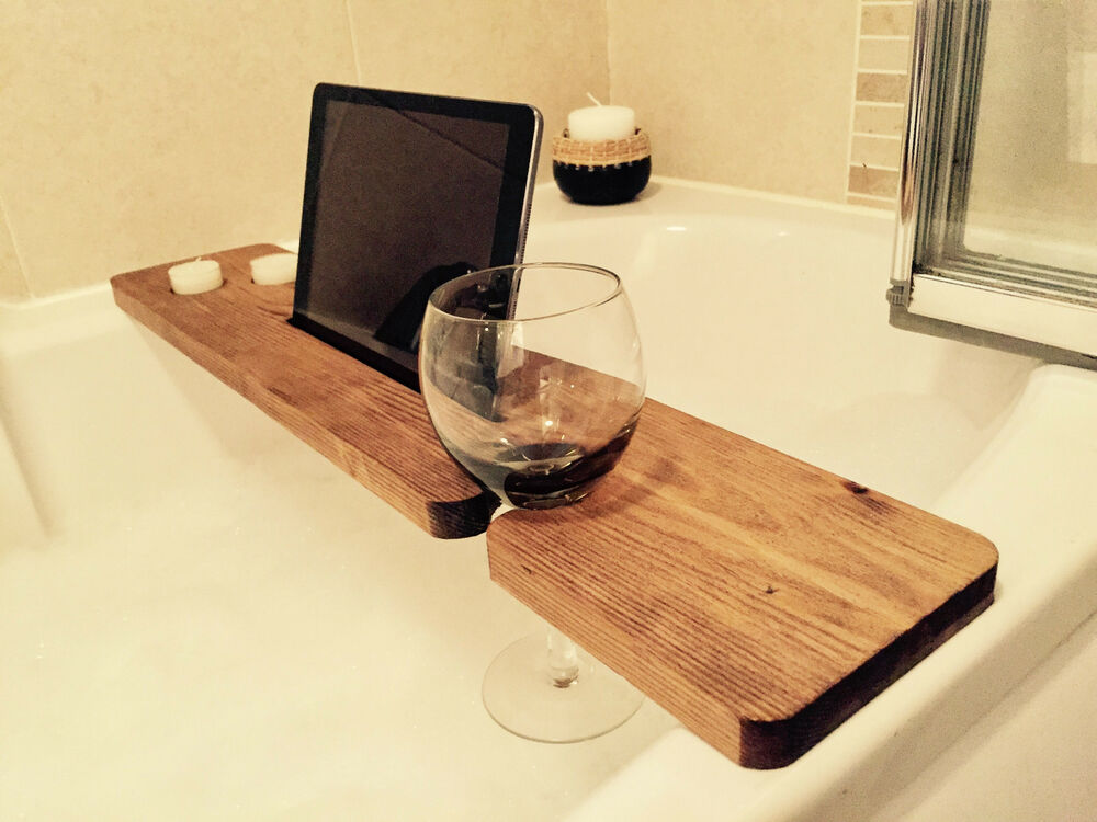 Wood Bath Caddy Wine Glass Candle Iphone Ipad Holder