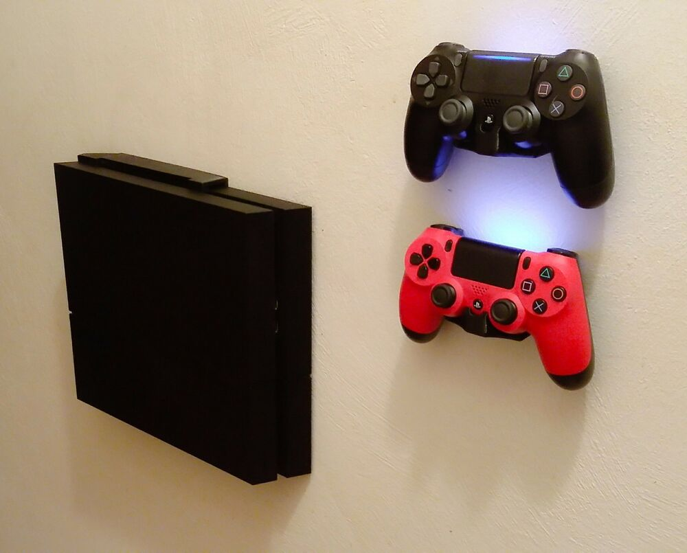 wall mount brackets for ps4 console controllers with. Black Bedroom Furniture Sets. Home Design Ideas
