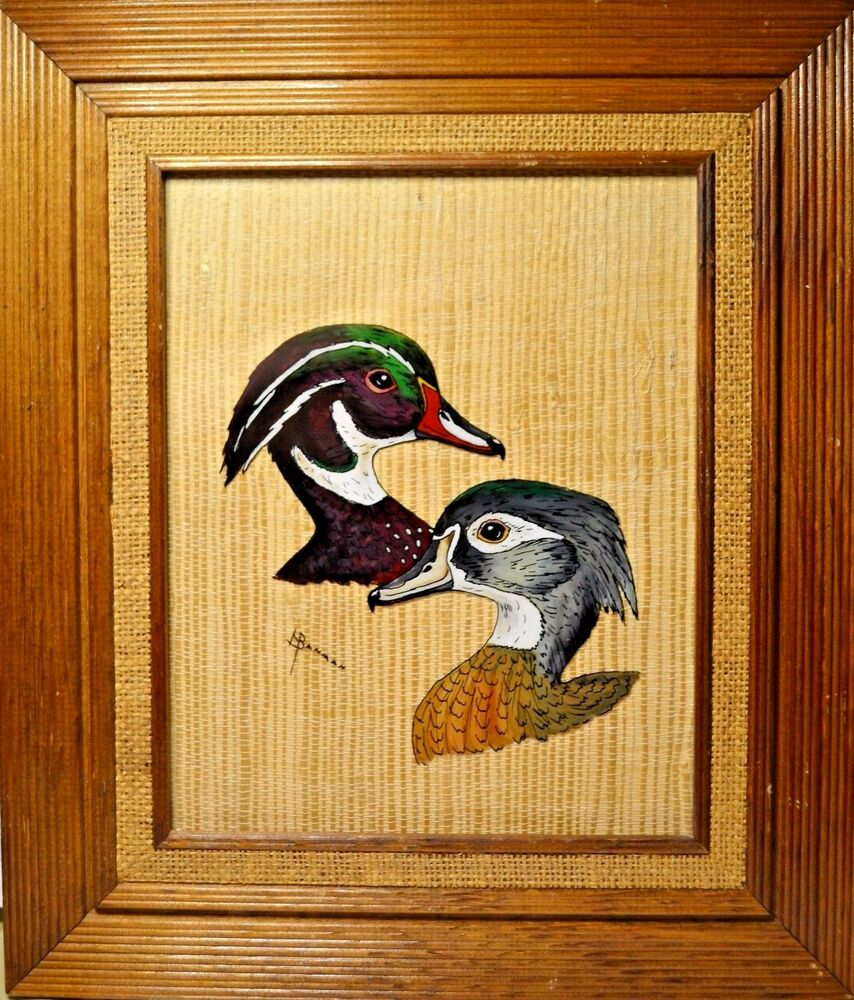 Painted Glass Wood Ducks Picture Office Decor Hunting Art Duck Head ...