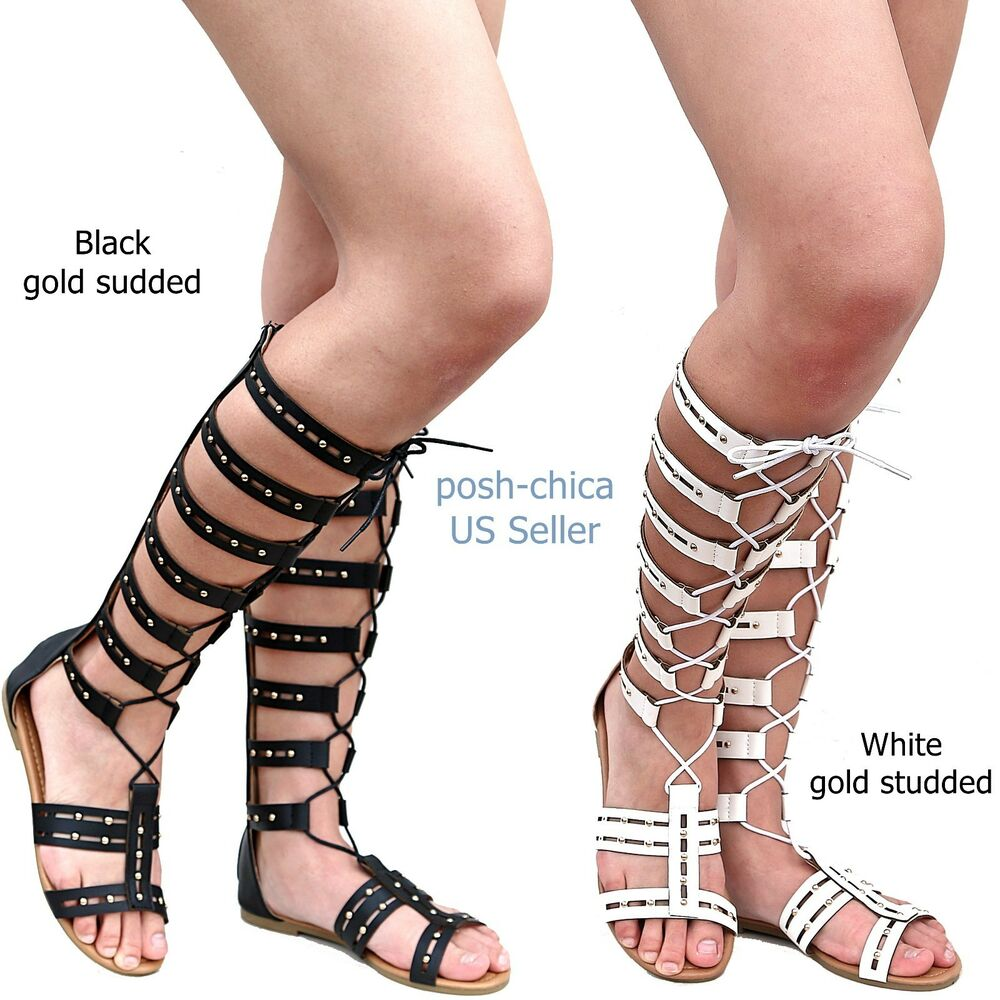 9aa41afb6ba Details about New Women YIs Black White Gold Studded Strappy Gladiator Knee  High Tall Sandals