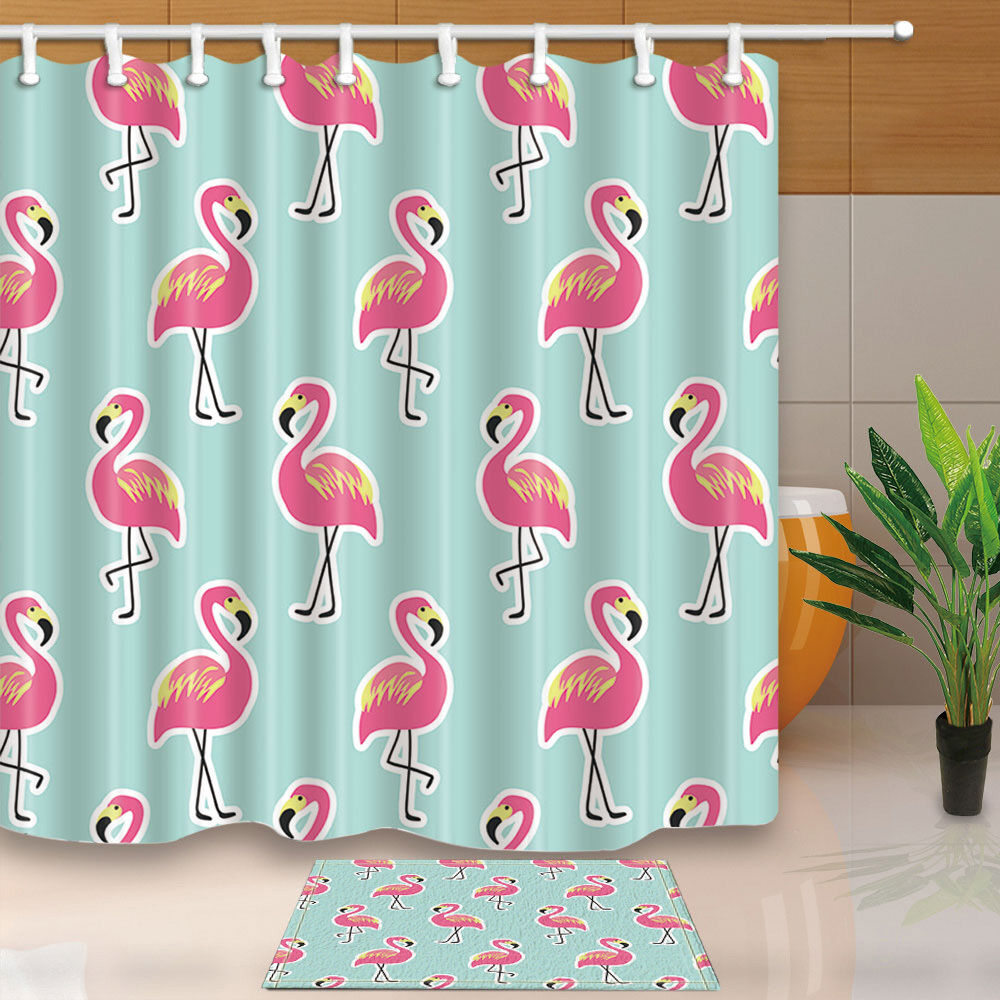 Red Rose Polyester Waterproof Bathroom Fabric Shower Curtain  With 12 Hook