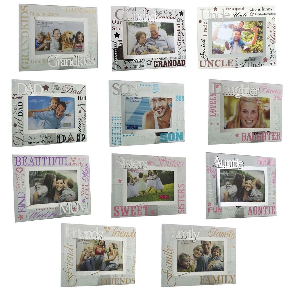 4d269b234aa5 Details about Glass 6 x 4 Photo Frame with Mirror Glass   Glitter Letters -  Choose design