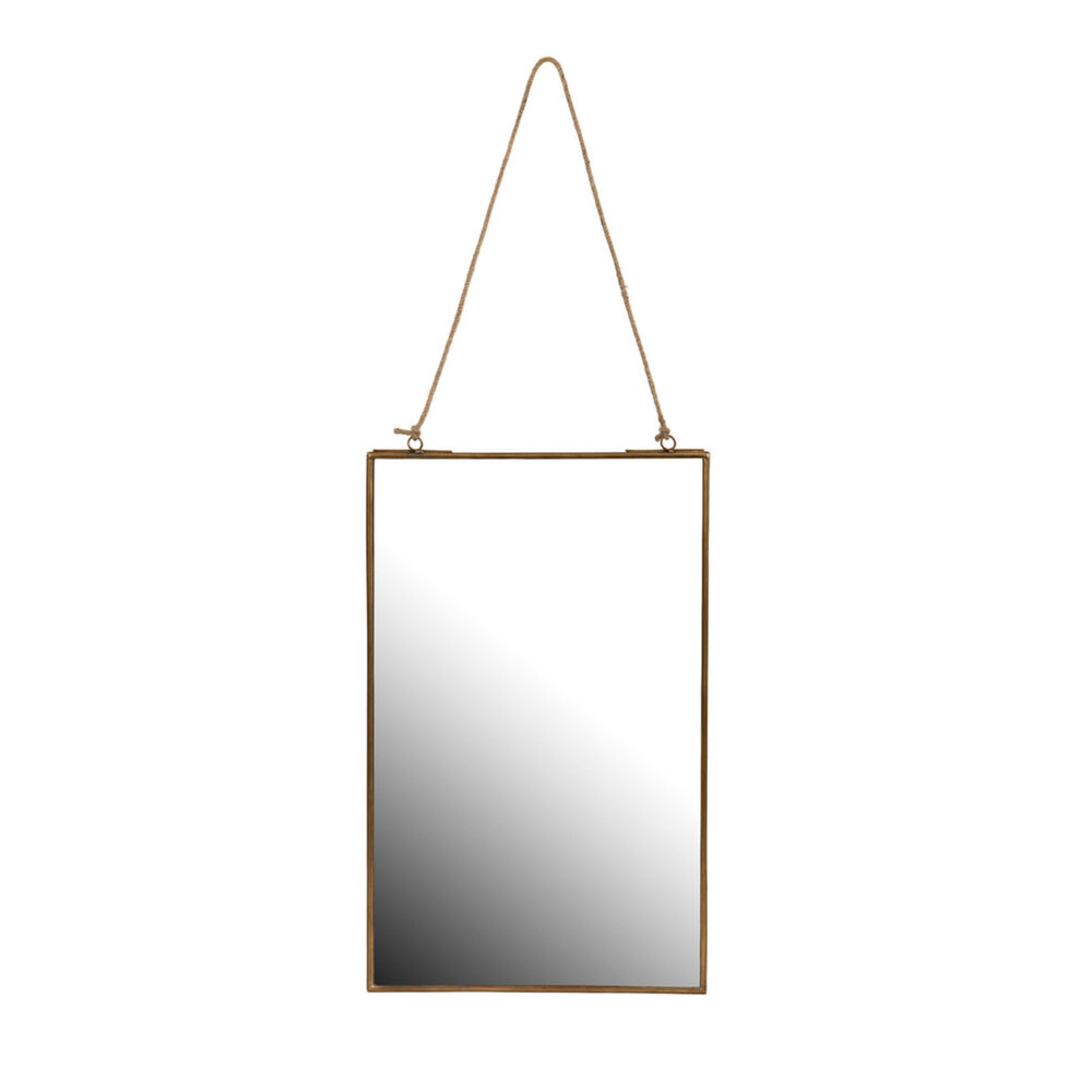 How To Hang A Bathroom Mirror On The Wall: Antique Brass Rope Hanging Bathroom Shaving Cosmetic Wall