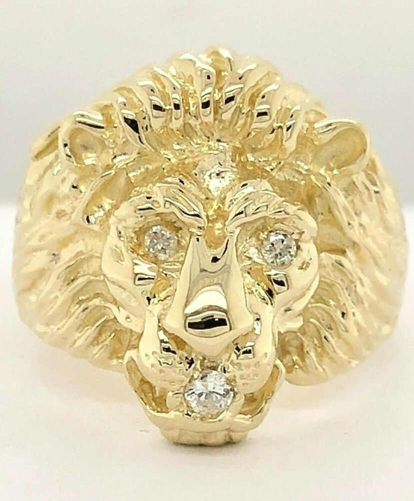 14k Yellow Gold Lion Head Ring With Diamond Eyes Amp Mouth